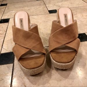 zara camel suede platform wedge heels